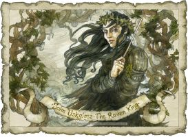 John Uskglass, Raven King crowned in ivy Detail by BohemianWeasel