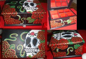 Black Jewels Case with Sugar Skull and Red Roses by theFraffra