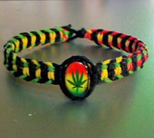 Rasta Pot Leaf Hemp Bracelet by Psy-Sub