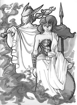 Hermes and Athena by Bean056