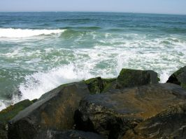 Waves against Rock Pier 4 by FairieGoodMother