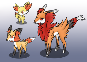 Fennekin Evolution by Wolframclaws