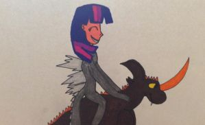 Twilight in her Godzilla outfit riding her toy by Beelzeskull06