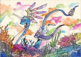 Dragonair and Dratini by PhaedraDormen