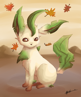 Leafeon Painting by haruka-wolf