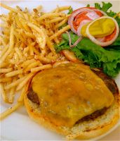 Cheeseburger and Garlic Fries by schtink