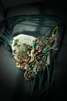 Wire pendant with jade and turquoise, the author's by DARiyaKUTEPOVA