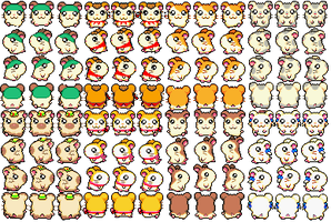 Hamtaro sprite sheet 1 by bunnynibble15