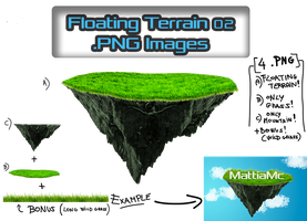 Floating Terrain Mountain 02  PNG + Bonus by MattiaMc