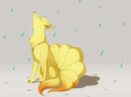 Ninetales in the Rain by That-Stupid-Dingo