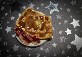 Yummy Cinnamon Waffles with Syrup and Bacon Pin by squeekaboo
