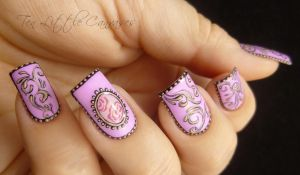 Hand Painted Vintage Nail Design by TenLittleCanvases