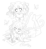 Two artists - lineart by GaMu-ChAn