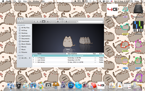 My Desktop - Pusheen Themed [Icon Pack Included] by penguimoo