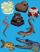 Reptiles and Cake and Cake by wulfiesacolyte