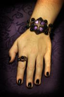 Steampunk Victorian Jewelry Set -Bracelet and Ring by CatherinetteRings