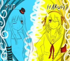 Mio and Haruhi by Lollipop-cupcake
