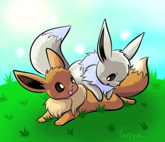 Eevees playing (request) by Furreon
