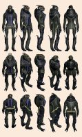 Mass Effect 2, Garrus Casual - Model Reference. by Troodon80