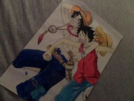 one piece Luffy and ace by mvhk97