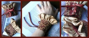 Gold and Burgundy Cuffs by nolwen