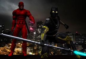 daredevil e black panther by hiram67