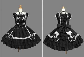 Black Sleeves Cap Bow Cotton Gothic Lolita Dre by weodress