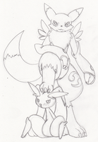 Renamon and lopunny by HybridProjectAlpha