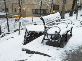 Snow on Bench Stock by Urceola