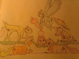 Yet Another Mane 6 Drawing by Likaon1995