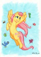 Fluttershy Flying by InkDotThePony