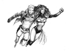 Steve Trevor and Wonder Woman by croaky