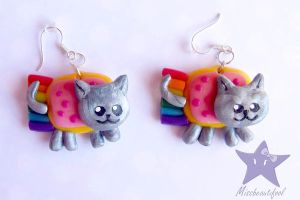 Nyan Cat Earrings by missbeautifool