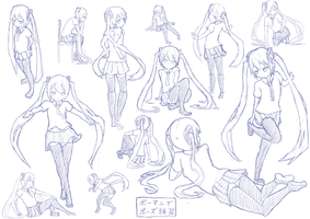 Hatsune Miku pose practice using Posemaniacs by ryuzakura