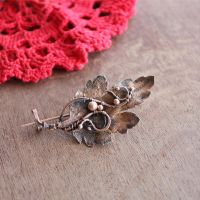 chrysanthemum leaf brooch by WhiteSquaw