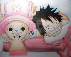Luffy and Chopper by Meroty