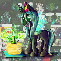 Filly Queen Chrysalis: One Year Anniversary by RyuRedwings