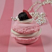 Pink French Macaroon Necklace by FatallyFeminine