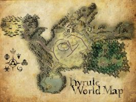 Hyrule World Map 'ocarina' by ajb3art