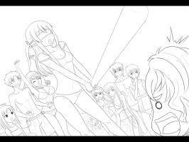 lineart - beach party 2 by Suihara