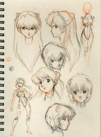 Asuka-Rei sketches by emmshin
