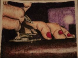 (Oil Pastel)  Me, My Hands by eservey26