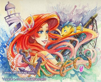 The Little Mermaid Nautical Watercolor Painting by LemiaCrescent