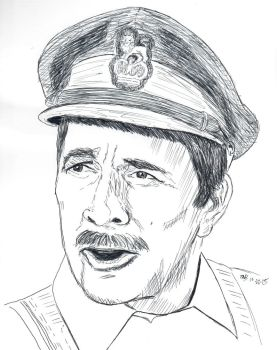 Inktober #17 - Doctor Who - The Brigadier by Circular-Time