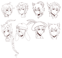 Lineart Headshot Batch asdfghjk~ by Fuka-chi