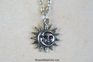 Tiny Celestial Sun and Moon Necklace by MonsterBrandCrafts