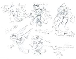 Halloween scribbles Annie Shade and friends by Kittychan2005