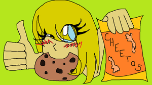 Samantha the Cheeto/cookie monster by Zombiehorse2