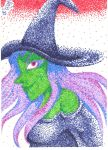 ACEO pointillism witch by Fevley