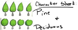 Pine and Deciduous Character Sheet by The-Magic-Tuba-Pixie